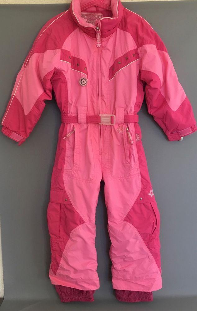 Obermeyer Girl s size 5 6 One Piece Pink Stars Ski Snow Suit I-Grow   Obermeyer  SnowsuitSkisuit d351f0c5c
