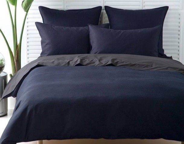 Waffle Quilt Cover in Navy by Linen House. Featured on The Block, available at Forty Winks