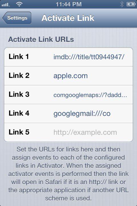 CYDIA精品应用推荐:Activate Link让您通过Activator的激活事件打开您想浏览的URL链接地址 | 越獄博客