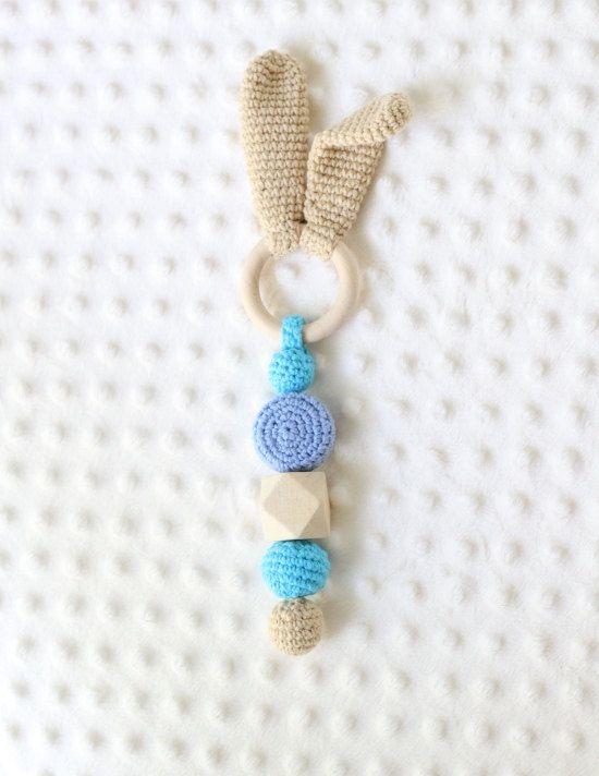Crochet natural organic teething rattlebunny wooden by LalalajShop