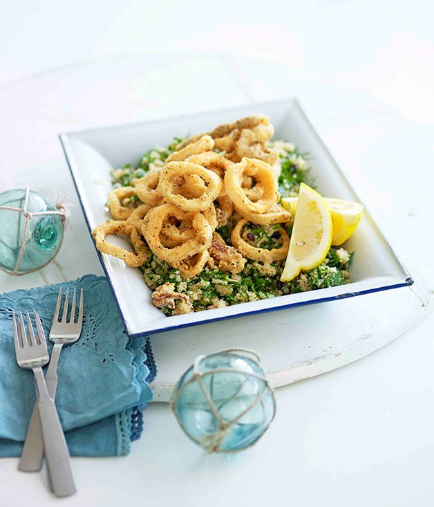 Australian Gourmet Traveller fast recipe for fried calamari with amaranth, dill and currants.