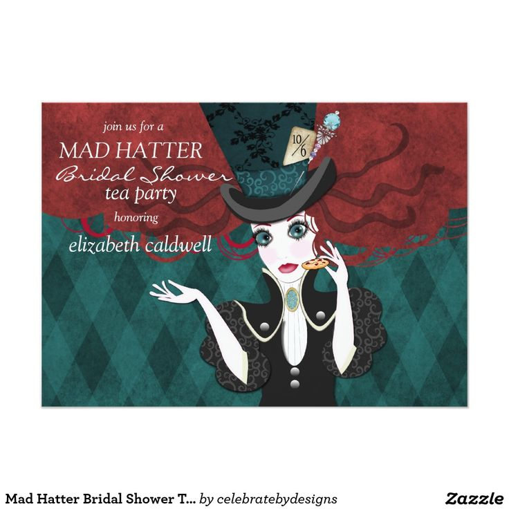 mad hatter teparty invitations pinterest%0A Mad Hatter Bridal Shower Tea Party Invitation