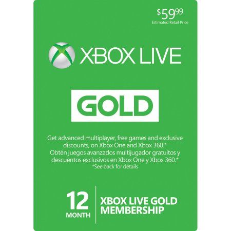 Xbox LIVE 12 Month Gold Membership Card for Xbox One / 360 - Physical Card Image 1 of 1