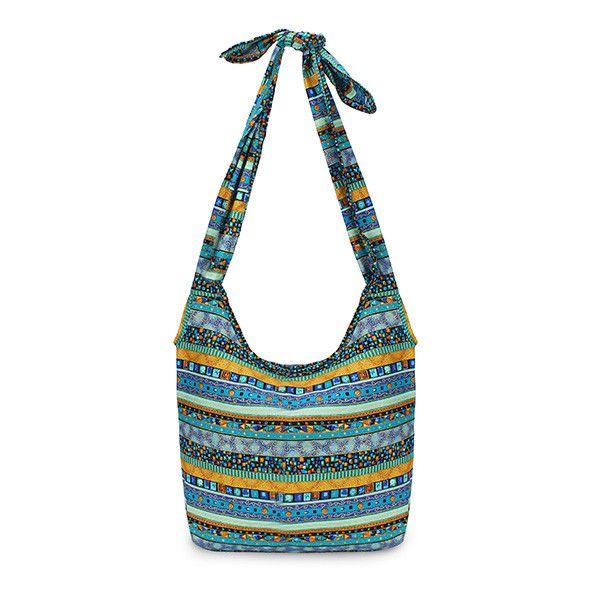 Sale 15% (12.42$) - Vintage National Wind Shoulder Bag Cloth Crossbody Bag Cotton Shopping Bag School Bag