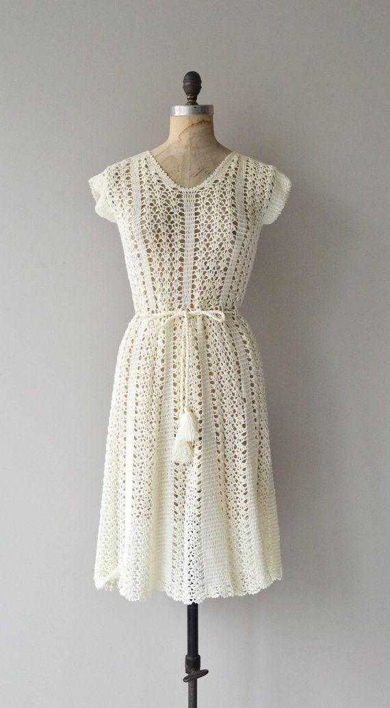 Ontanoa dress vintage 1970s dress cream crochet by DearGolden