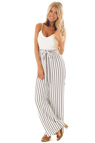 5e3626f8bdc2 White and Navy Sleeveless Jumpsuit with Waist Tie Detail front full body