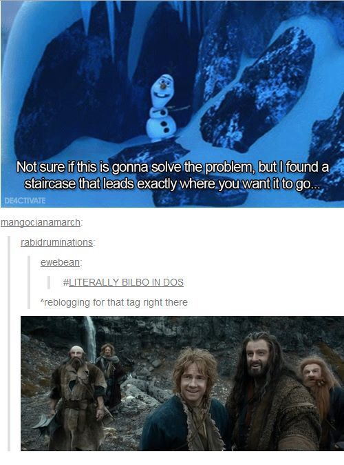 "Literally what happened Bilbo: ""not sure if this helps but I found a secret stairway that leads exactly where we need to go"" Thorin and co.: *facepalms*"