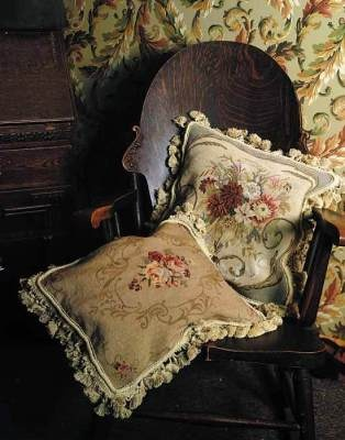 Victorian Trading Company: Feather Down Needlepoint Pillows