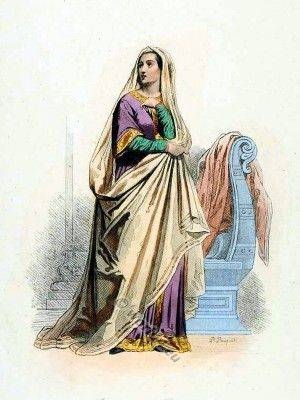 Carolingian costume of a Women in the reign of Charles the Bald.
