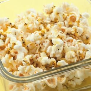 Perk up your popcorn with a bit of lemon pepper and Parmesan cheese.  -  savory, salty, crunchy snack.  healthy, lower carb, high fiber.  want!  look for other popcorn recipes.     lj