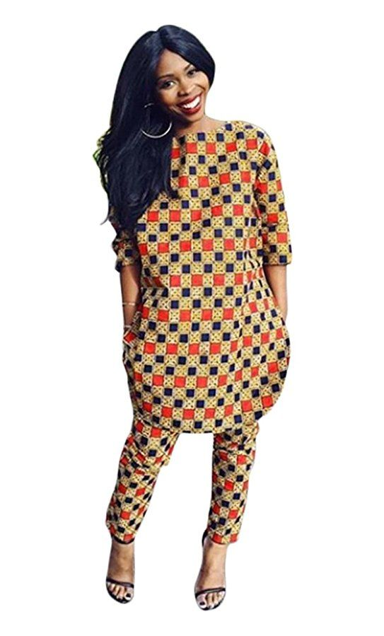 c6d2f479 Women's African Print 3/4 Sleeve Tops and Long Pants Set Two Pieces, Multi,  L. dutch wax, kente, kitenge, dashiki, African styles, African prints, ...