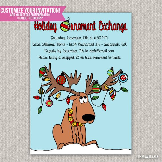holiday ornament exchange party christmas party invitation diy