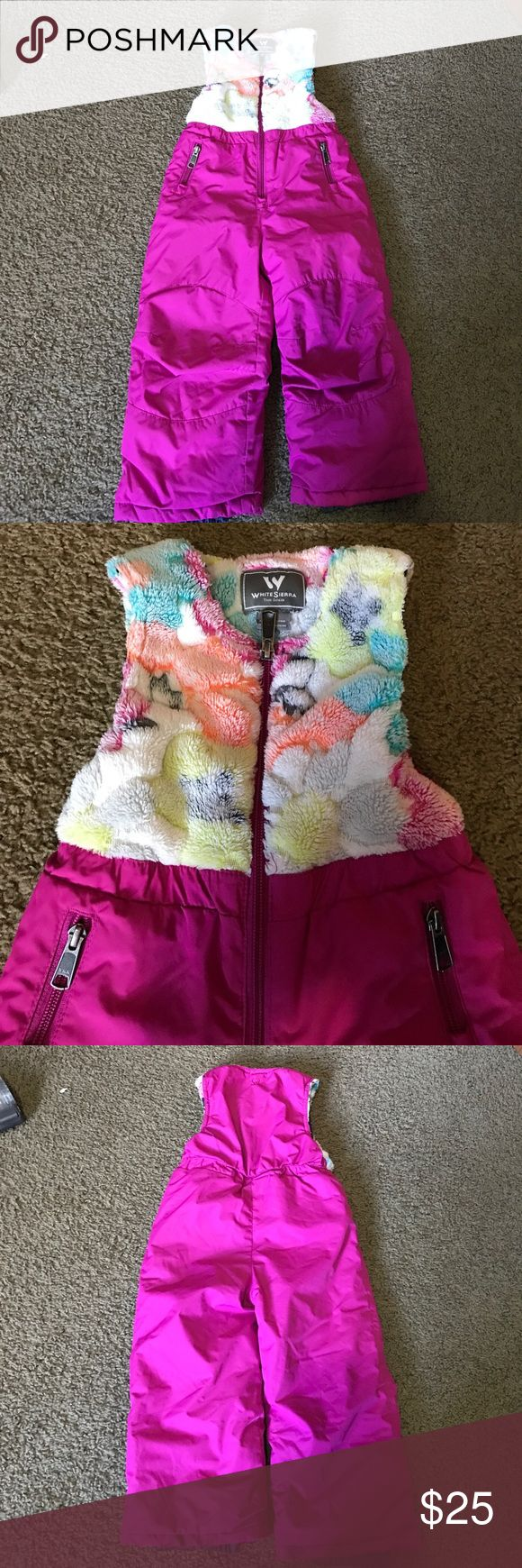 White Sierra toddler Girls ski bibs pants 2T EUC. White Sierra size 2T. Ski pants/bibs. Very good quality. Very cute! No issues at all. Smoke free home White Sierra Bottoms Overalls