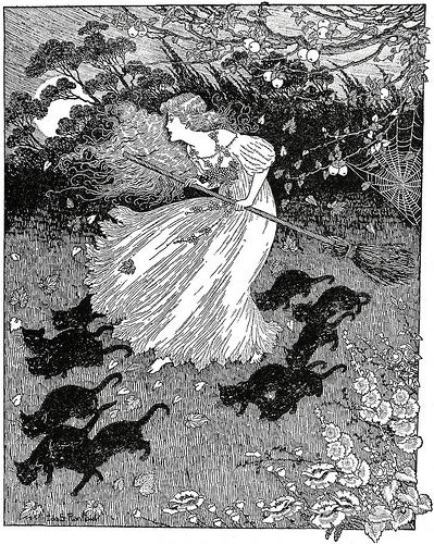 'She saw a little witch dance past', by Ida Rentoul Outhwaite  in 'The Lady of the Blue Beads' (1908)