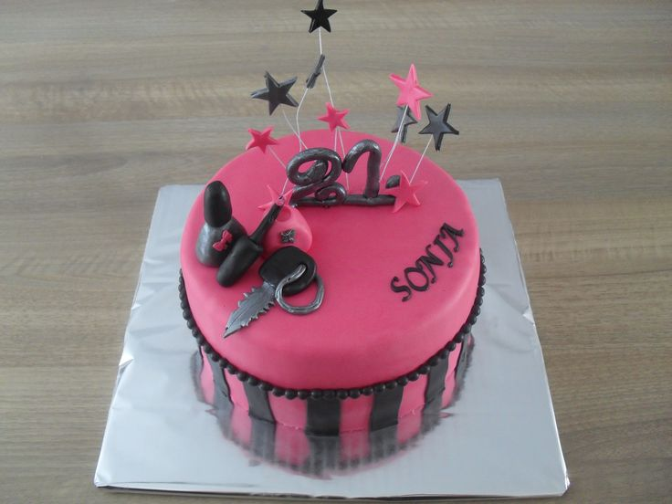 Roze en zilver met sterren, nagelak taart/ Pink with silver, stars, nailpolish cake