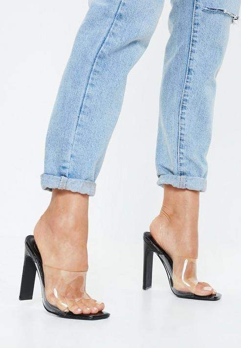 3fee80f4cb2 Missguided Black Patent Square Toe Clear Heels in 2019
