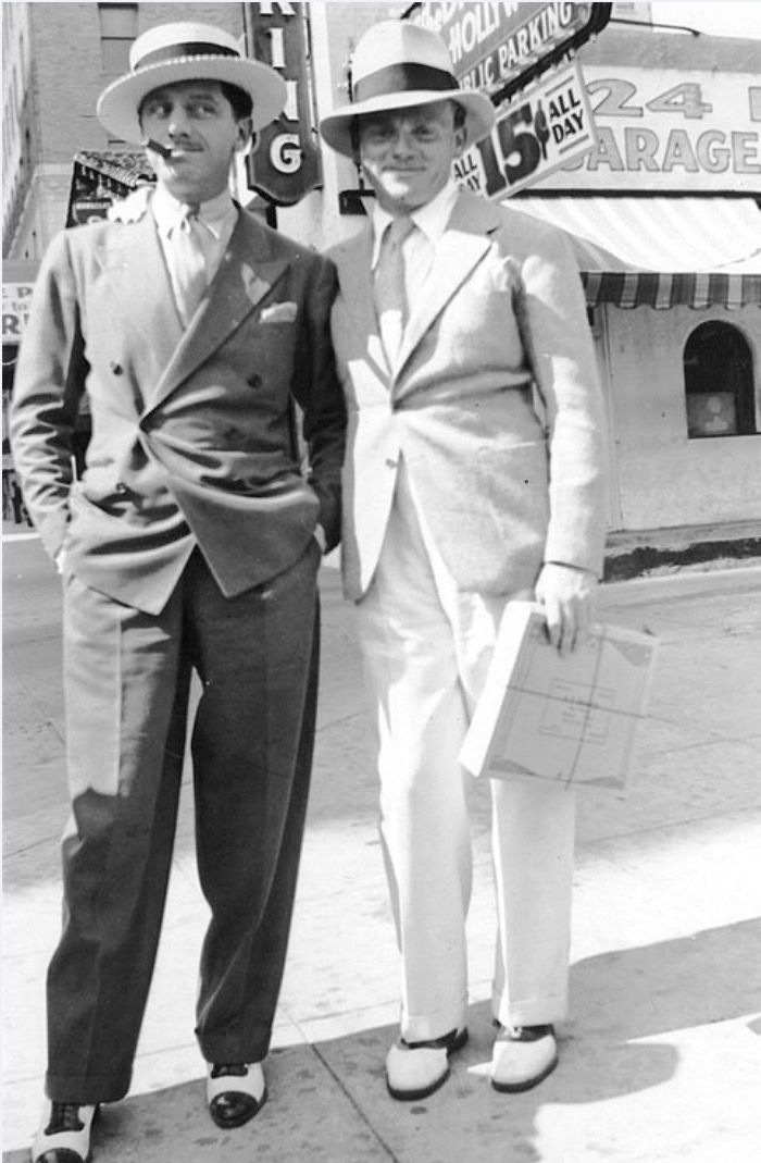 James Cagney with Lew Brice (Mae Clark's husband and Fanny Brice's brother)