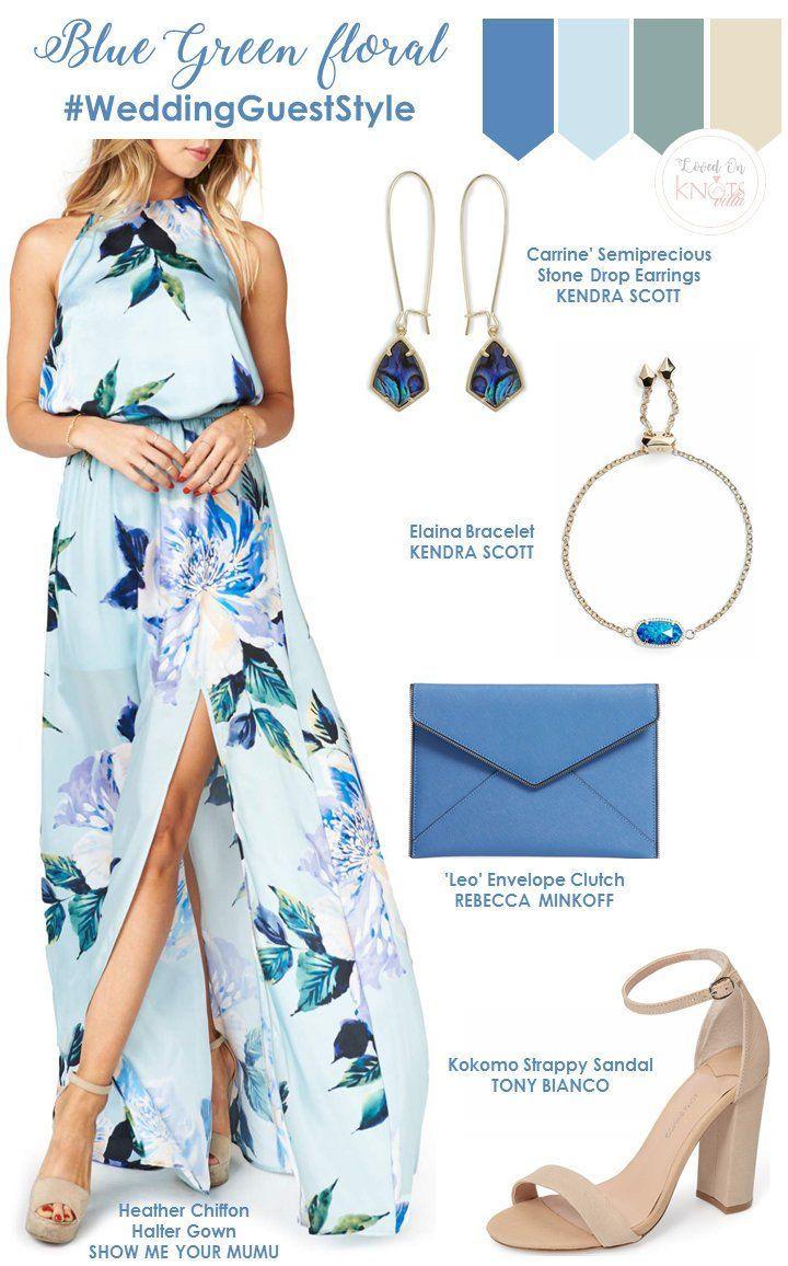 Blue green floral wedding guest outfit ideas.   Summer Wedding Floral Dresses  - KnotsVilla