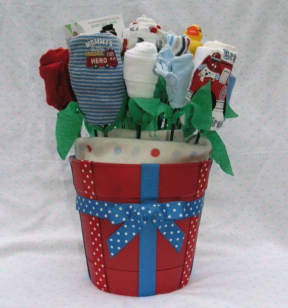 Little Fireman Baby Bouquet: 19 Piece Baby Boy Layette Gift Set