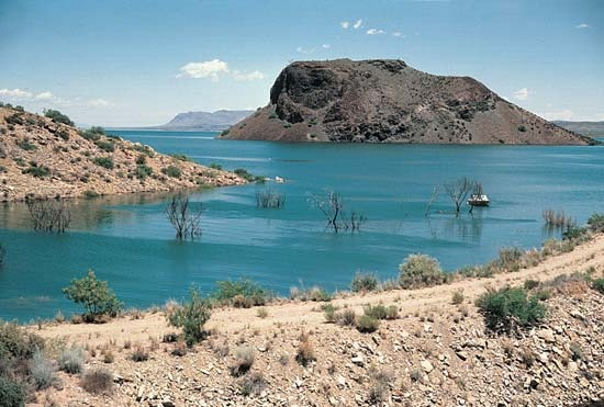 Elephant Butte Lake, New Mexico.  It was kind of desolate the days I camped there--but peaceful, too.  My dog loved it!