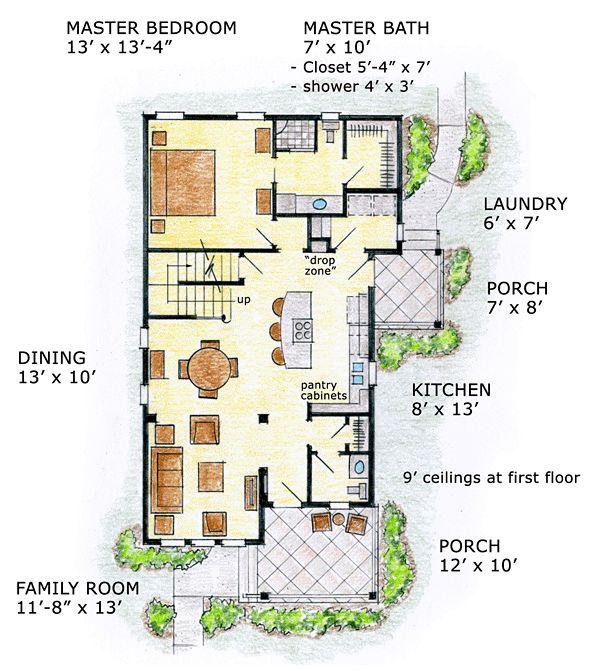 First Floor Plan of Cabin   Cottage   Craftsman   Farmhouse  Narrow Lot   House Plan 56570. 1581 sq ft, 3 bdrm, 2.5 bath.