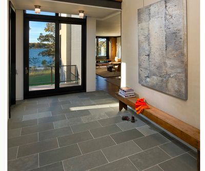 Montauk black 12x24 slate floor can get these at home for Front foyer tile designs
