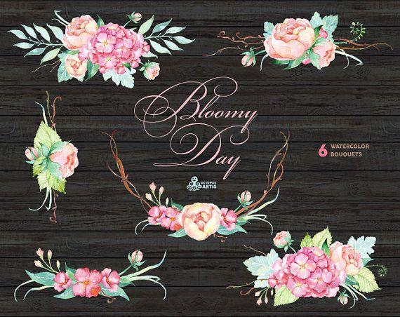 Bloomy Day: 6 Watercolor Bouquets hydrangea peonies wedding