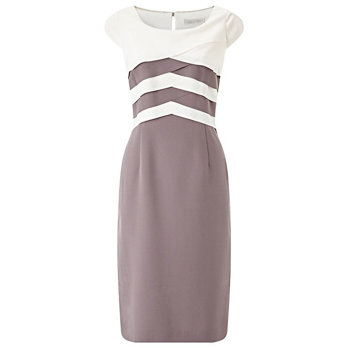 Buy Jacques Vert Layered Bodice Dress, Taupe/Cream, 8 Online at johnlewis.com