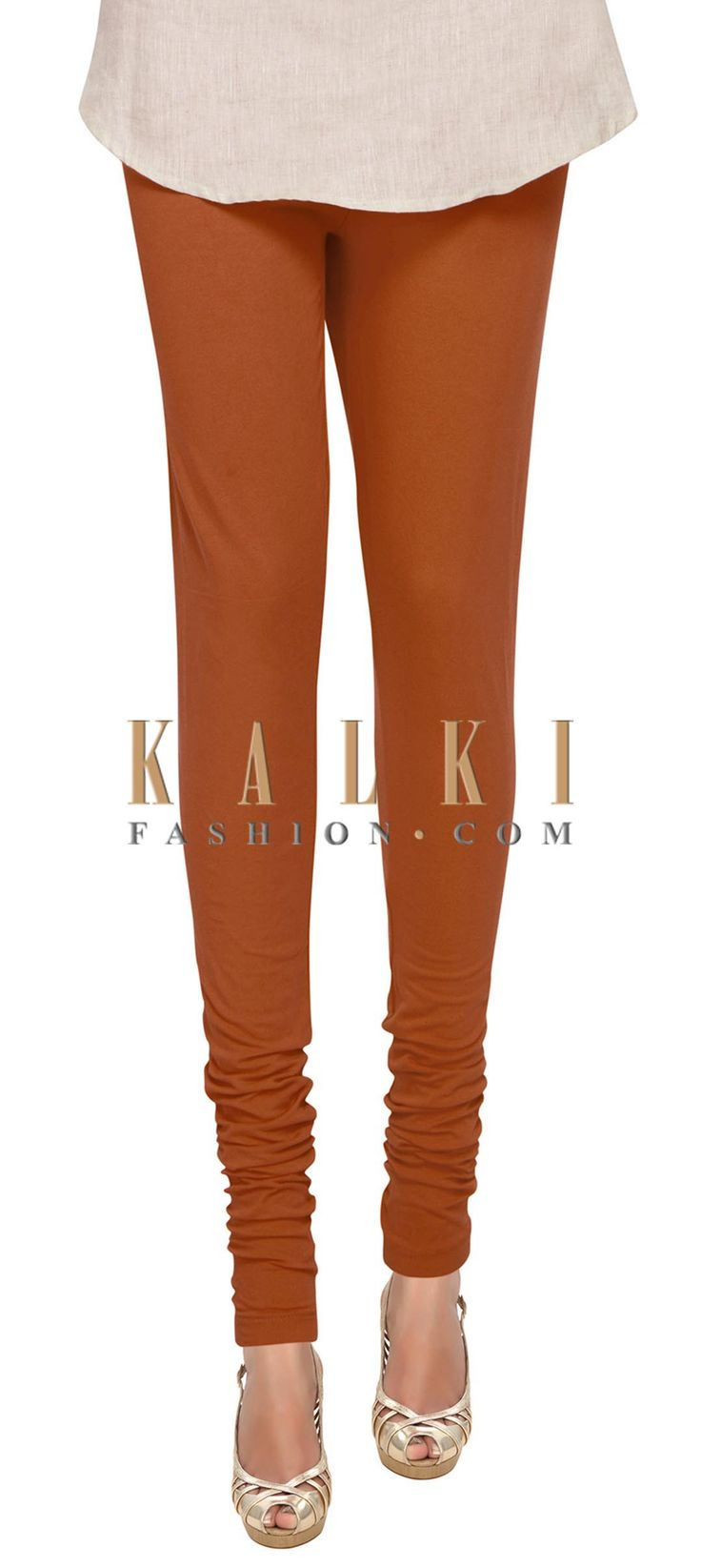 Buy Online from the link below. We ship worldwide (Free Shipping over US$100) Price- $19 Click Anywhere to Tag http://www.kalkifashion.com/rust-cotton-hosiery-legging-only-on-kalki.html