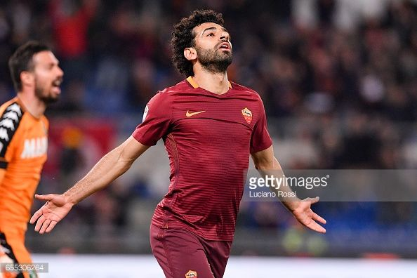 News Photo : AS Roma player Mohamed Salah celebrates the goal...