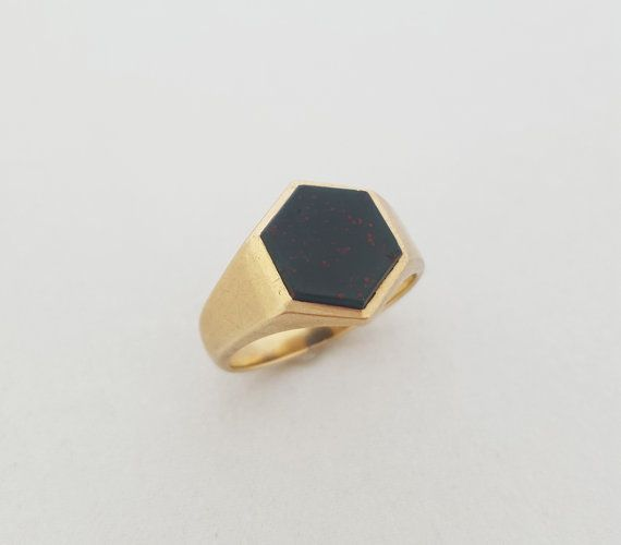 Vintage Art Deco Style 9K Gold Bloodstone Hexagonal Signet Ring by shopFiligree on Etsy
