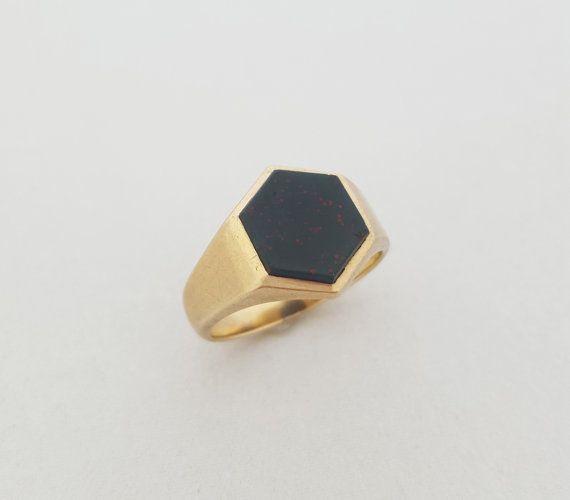 Vintage Art Deco Style 9K Gold Bloodstone Hexagonal Signet Ring by shopFiligree…