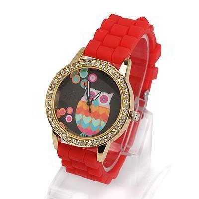 Diamond Decorated Owl Pattern Design Red. Fashionable with passion REPIN if you like it.😊 Only 103 IDR