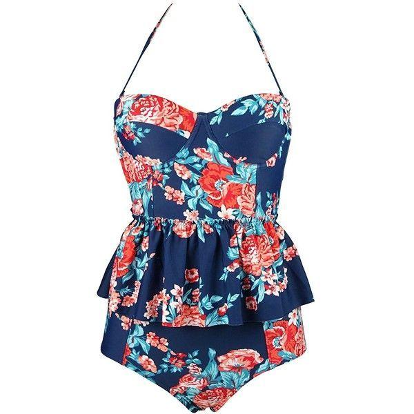 Cocoship Women's Retro Antigua Floral Peplum Push Up High Waist Bikini... ($26) ❤ liked on Polyvore featuring swimwear, high waisted bathing suits, push up swim suit, high-waisted swimwear, bikini swimwear and high waist bikini swimsuit