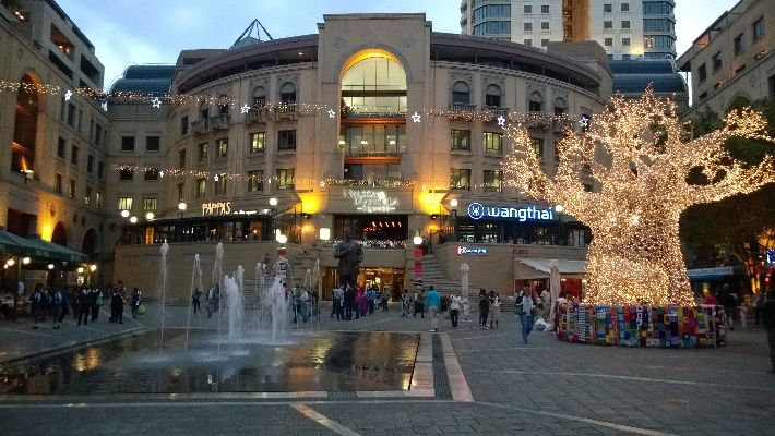 Nelson Mandela Square in Sandton, Johannesburg, with The Michelangelo on one side and Sandton City on the other