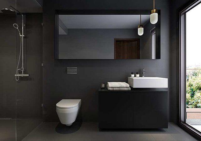 schwarze wände für moderne badezimmer einrichtung mit waschtisch schwarz und wandspiegelschrank