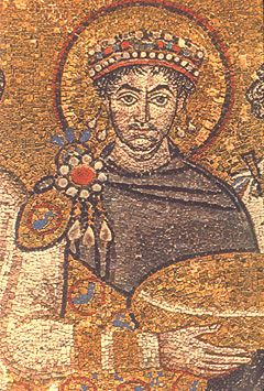 Justinian I *the Great* Byzantine Emperor (c.482--565) Son of Sabbatius and Vigilantia. Husband to Theodora. Reigned 38 years. From a contemporary portrait mosaic in the Basilica of San Vitale, Ravenna