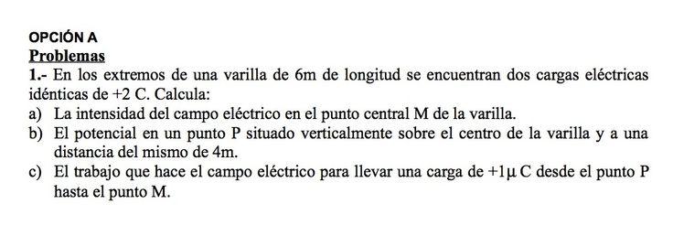 Ejercicios de Electromagnetismo propuestos en el examen PAU de Canarias  de 1999, opción A.