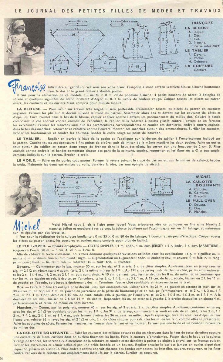 PAR AMOUR DES POUPEES :: M&T 1958-01 Costume d'infirmière pour Françoise (couture)