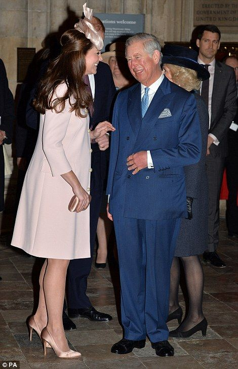 Family affair: The Duke and Duchess of Cambridge gave a warm welcome to Prince Charles and an elegant Duchess of Cornwall