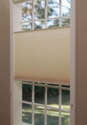 Cordless Top-Down/Bottom-Up Cellular Shades. No strings to tangle. Cover the whole window, open the top or open the bottom. Love it!