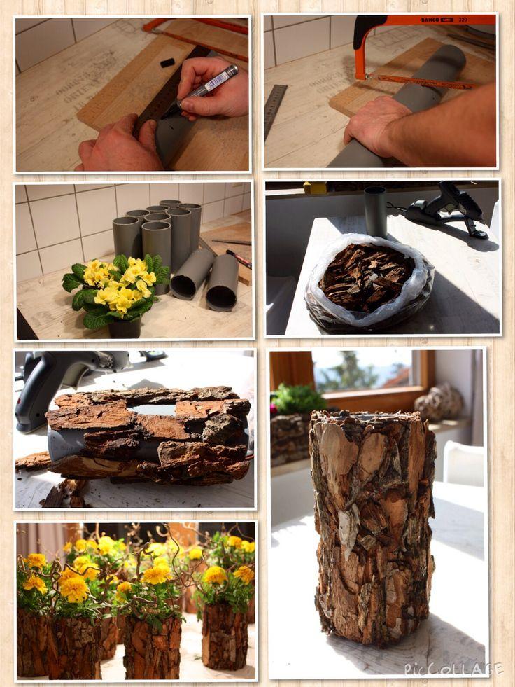Baumrinde, tree bark, vase, arrangement, flowers, dekoration, decor, diy,