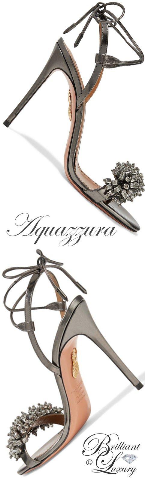 Brilliant Luxury by Emmy DE ♦Aquazzura Monaco crystal-embellished metallic leather sandals