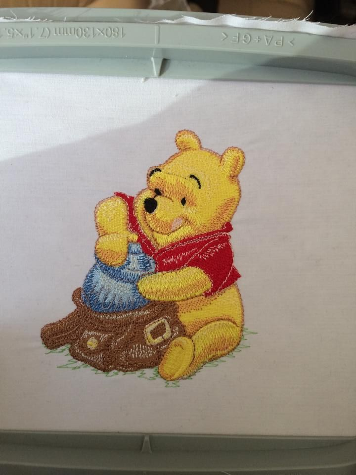 Winnie the Pooh avalible on baby vests, blankets and childrens t-shirts. Baby vests £8, Blankets £10-£12 depending on blanket size and childrens t-shirt price are depending on size :) Let us know if you want one :)