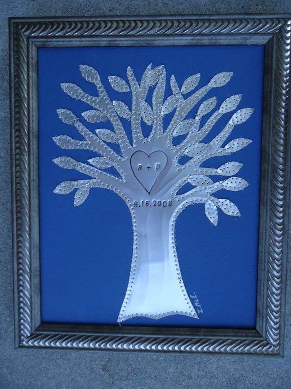 Tin Anniversary Gift  Wedding Gift  Tree  by creationsbyingrid1