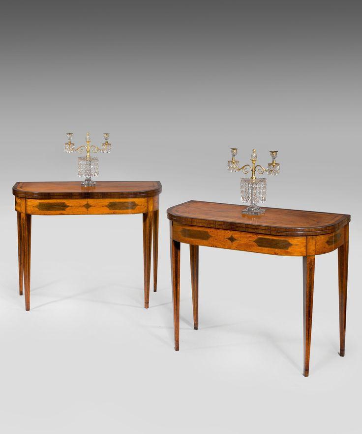 An elegant pair of George III Sheraton period satinwood veneered card  tables. Card TablesTable CardsGeorgian FurnitureAntique ... - 19 Best Elegant Antique Sheraton Furniture Images On Pinterest