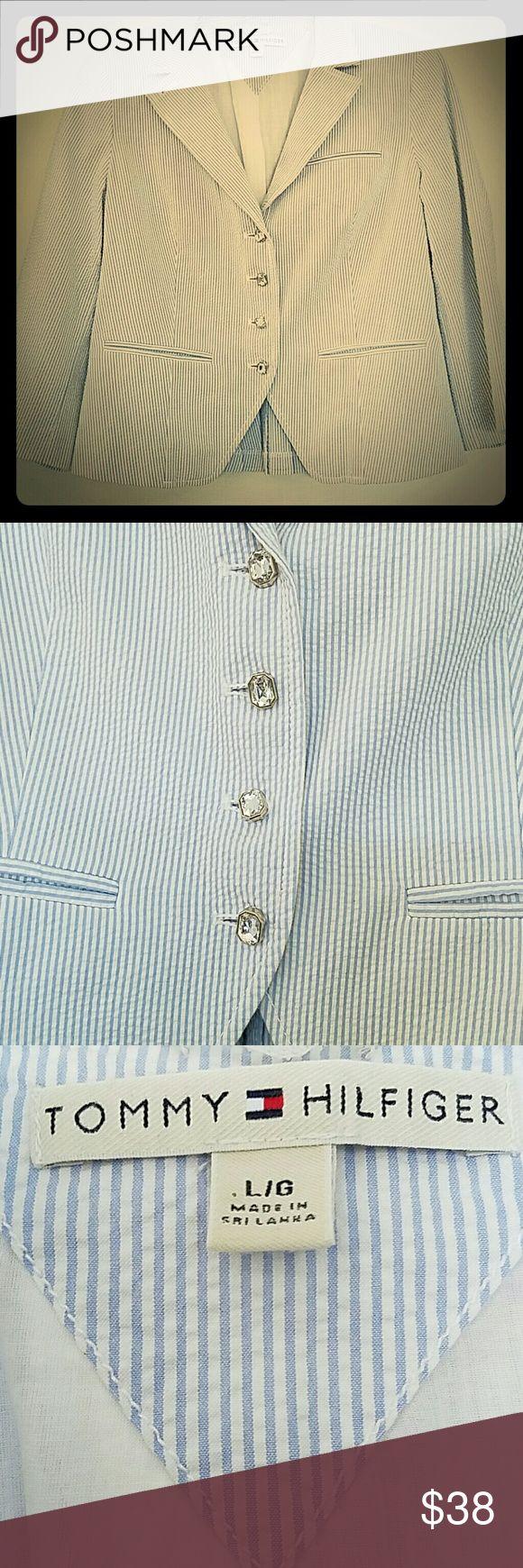 Tommy Hilfiger seersucker blazer w/rhinestone Tommy Hilfiger seersucker blazer with rhinestone buttons and pleated back. Tommy Hilfiger Jackets & Coats Blazers