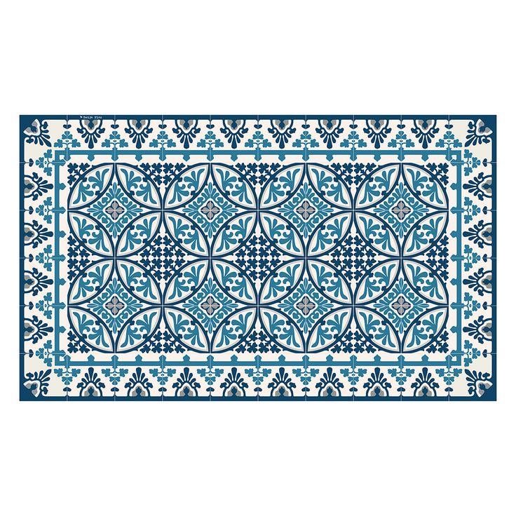 beija flor tapis de sol vinyle barcelona bleu et blanc franais 70x180cm http - Tapis Vinyl Cuisine