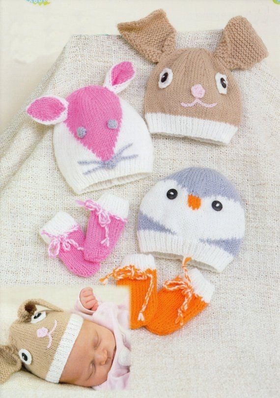 baby animal hats and mittens dk knitting pattern 198