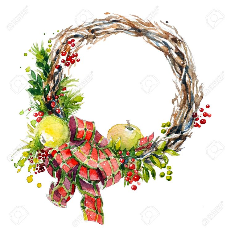 Hand Painted Watercolor Wreath. Christmas Decoration. Stock Photo ...